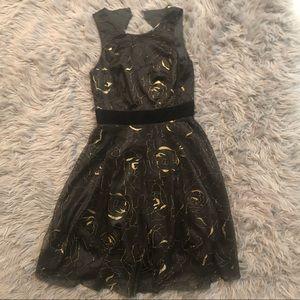 Eliza J black and gold dress